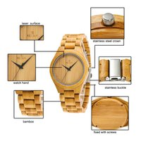 Wholesale bamboo glasses case resale online - Men Bamboo Watches with Unique Bamboo Wood Band Case Men Quartz Wristwatch LXH