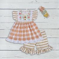çocuklar için bağbozumu tarzı toptan satış-Yeni Yaz Stil Kız Butik Giyim Seti Çok desen Patchwork Vintage Çizgili Fırfır Kapriler Çocuklar Moda 2gk804-304 Y190518