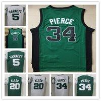 fd71af1f9 De alta calidad para hombre camiseta de baloncesto 5 Kevin Garnett jersey  20   Ray Allen 34   Paul Pierce bordado Jerseys camisas blancas verdes  Shippin ...
