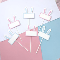 Wholesale bunny plugs for sale - Group buy 2019 Pink Blue Writable word blanks Bunny Ears Cake Decoration Plug in For Easter Party Dessert decorate