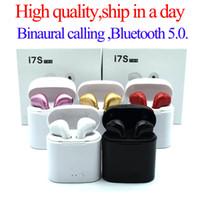 auriculares universales mic al por mayor-Auriculares Bluetooth I7 I7S TWS Gemelos Auriculares Mini Auriculares inalámbricos Auriculares con micrófono estéreo V5.0 para teléfono Android con paquete minorista