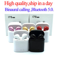 fone de ouvido bluetooth sem fio de maçã venda por atacado-Fones de ouvido Bluetooth I7 I7S TWS Gêmeos Earbuds Mini Fones De Ouvido Sem Fio fone de Ouvido com Microfone Estéreo V5.0 para telefone Android com Pacote de varejo