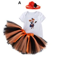 Wholesale baby girl newborn outfits tutus resale online - INS Halloween baby girls suits short sleeve romper tutu skirts floral headband set newborn outfits newborn baby girl clothes A8610