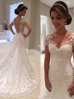 Wholesale arabic hand made dresses resale online - Custom Made Luxury Arabic Mermaid Wedding Dresses Plus Size Beading Crystals Court Train Wedding