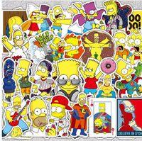 refrigerador de vinilo al por mayor-50 Unids / lote Vinyl The Simpsons Pegatinas Divertido Anime Cartoon Sticker Para Skateboard Equipaje Portátil Guitarra Nevera Bicicleta Calcomanía de Coche