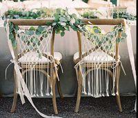 фиолетовый декор стула оптовых-Макраме свадебный стул декор ручной работы тканые хлопчатобумажный шнур богемный жених и невеста стул спинка вешалка макраме настенные декоративные