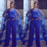 Wholesale new pants photos for sale - Group buy 2019 New Royal Blue Elegant Lace Tulle Evening Dresses Suit Pants Jumpsuits Formal Dresses With Wrap Prom Gowns Custom
