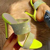 zapatos de boda verde rhinestones al por mayor-Más el tamaño 35 40 41 42 Para fluorescente verde Rhinestone banquete de baile zapatos de champán zapatos de boda sandalias vienen con la caja