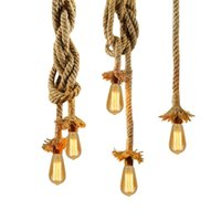 glühbirne seil großhandel-Vintage Seil Pendelleuchte Lampe AC 90-260 V Loft Kreative Persönlichkeit Industrielle Lampe Edison Birne Amerikanischen Stil Für Wohnzimmer