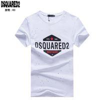 erkekler için polyester casual gömlekler toptan satış-Yeni 2019 Luxurys Markalar D2 Kanada Tasarımcıları Erkekler T-Shirt ICON İtalya Moda rahat Yaz Kısa Kollu Hop-Hop Erkekler O-Boyun gömlek DS2 01