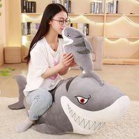 kinder weiche fische spielzeug großhandel-Simulation Shark Plüschtiere Big Fish Doll Soft Stuffed Animal Doll Kindergeburtstagsgeschenk Cute And Fierce Shark Plush Toys