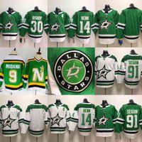camisetas del equipo de hockey en blanco al por mayor-2018-2019 Dallas Stars 91 Tyler Seguin Camisetas de hockey sobre hielo 14 Jamie Benn 30 Ben Bishop Jersey en blanco Equipo de color verde Todo cosido S-3XL