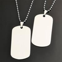 gümüş kaplama köpekler toptan satış-Siyah Gümüş Kaplama Paslanmaz Çelik Blank kolye kolye Perso nalized Gravür Kendi Logo Kimlik Köpek Etiket kolye kolye Tasarım Takı