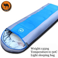 Wholesale rectangular cotton sleeping bag for sale - Group buy 1 kg Adult outdoor camping sleeping bag envelope pattern with cap thick filling cotton light easy carry keep warm sleeping bag C18112601