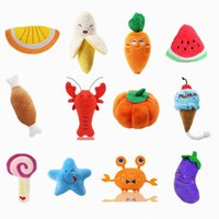 1pc Plush Dog Toys Squeaky Bone Ice Cream Carrot Puppy Chew Toy Interactive Cat Toys Pet Dog Sound Toys For Small Dogs