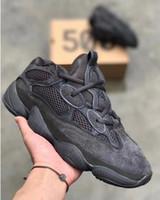 botas de deserto dos homens venda por atacado-Novo 500 Sal Sapatos Running Das Mulheres Dos Homens Rato Deserto 500 Utilitário Blush Preto Kanye West Designer Botas com caixa