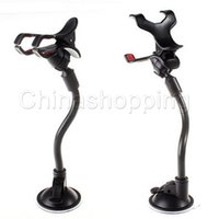 Wholesale easy use cell phones online – For Phone Double Clip Car Mount Easy To Use Universal Long Arm neck Rotation Windshield Phone Holder for Cell Phones Retail Pack