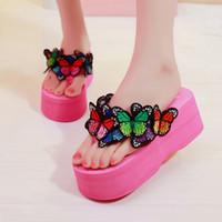 Wholesale ladies high platform flip flops resale online - Summer Women Slippers Butterfly Flip Flops Beach Shoes Woman Sandals Platform High Heels Wedges Ladies Slides zapatos mujer