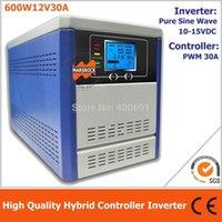 inversor pwm venda por atacado-Inversor híbrido do controlador de Freeshipping para fora do sistema de energia solar da grade, 600W inversor puro da onda de seno de 12V integrado com o controlador de 30A PWM