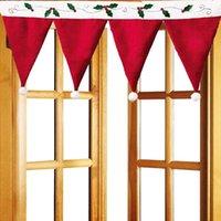rideaux de cuisine pour noël achat en gros de-Rideau décoratif de Noël de rideau en forme de chapeau créatif pour la porte de cuisine fenêtre d'armoire suspendue la décoration