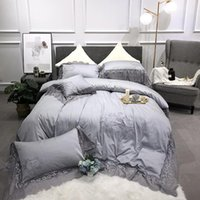 Wholesale pink ruffles lace bedding sets resale online - 100 Egyptian Cotton Pieces Ruffle Lace Crown Duvet Cover Set King Queen Size Grey Purple Bedding Set Bed sheet Pillow shams
