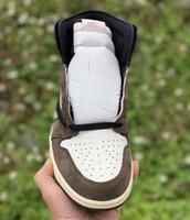 t chaussures homme achat en gros de-2019 Nouvelle version Brown Travis 1 Haute OG TS SP Moka Hommes Femmes Cactus Jack Dark Scotts Chaussures de basket Sport Sneaker 40-47