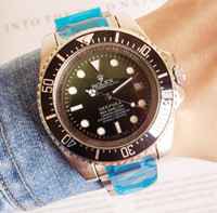 водонепроницаемые часы оптовых-Relogio Мужские часы Luxury Gent's GMT II Автоматические механические часы из нержавеющей стали Dive Blue Red Ceramic Круг водонепроницаемые мужские часы