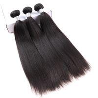 28 parça saç örgüsü toptan satış-Yaki İnsan Saç Uzantıları Brezilyalı Bakire Saç Örgü Demetleri Deal Işık Yaki Düz 3 Parça Dolago