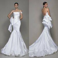 Wholesale gold mermaid strapless for sale - Group buy White Elegant Mermaid Wedding Dresses Straps Big Bow Sweep Train Simple Beach Wedding Dress Custom Made Boho Robes De Mariée