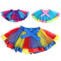 vücut tulle toptan satış-Yaz Gökkuşağı Tutu Elbiseler Kızlar Yarım Vücut Kabarcık Etek Mini Yaratıcı Tül Dans Bale Elbise Gerçekleştirmek Sıcak Satış 10 5hg M1