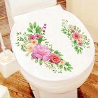 ingrosso adesivi da bagno-Decorazione domestica creativa Adesivi toilette Decorazione bagno Adesivi toilette impermeabile Adesivi fiore toilette Dress Up Spedizione gratuita