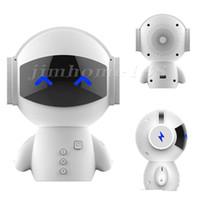 música de células venda por atacado-20pcs mais novo bonito portátil Stereo Robot Speaker Bluetooth mãos-livres de cancelamento de ruído AUX TF MP3 Music Player telefone celular chamada