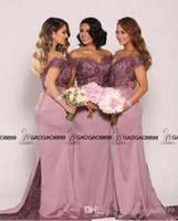 vestidos de casamento azul estilo sereia venda por atacado-Nude Lavender Lace Stain Off-ombro longas Mermaid Beach Vestidos dama de honra 2019 da festa de casamento baratos Dubai Árabe estilo vestido Visitante
