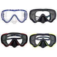máscara azul verde preta venda por atacado-Criança Máscara de Snorkel Máscara de Mergulho Óculos de Proteção Visão Ampla Esportes Aquáticos Natação Equipamentos de Treinamento Preto Azul Vermelho Verde
