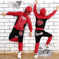 trajes de cosplay de anime meninos venda por atacado-Set traje de Halloween Anime Cosplay Crianças Roupa Comic homem Costume Spiderman Red Black Spider para meninos crianças jaqueta pantsMX190921