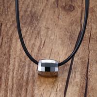 Wholesale rubber chains for pendant resale online - Fashion Chokers Necklaces for Men Tungsten Carbide Pendant Black Rubber Leather Rope Black Colar Unisex Trendy Jewelry