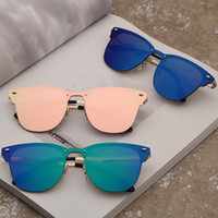 Wholesale metallic frames resale online - Vintage Rivet Sunglasses Unisex Metallic Retro Colorful Film Sunglass Fashion Metal Frame Sun glasses Classic Eyewear Glasses GGA2095