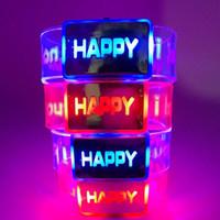 crianças piscando pulseiras venda por atacado-Luz elétrica Up Brinquedos Luminous Happy Bracelet Partido Festival Rave Crianças Led Iluminação Piscando Relógio para Crianças Meninos Meninas Presente