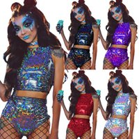 bikini top sexy girl achat en gros de-Maillot de bain laser holographique crop top débardeur tenue danseurs de parti filles femmes vêtements sexy bikini plage d'été Maillot de bain 2pcs / set FFA2113