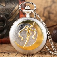 Wholesale fashion cartoon watch for sale - Group buy Retro Fashion Golden Silver Sailor Moon Anime Cartoons Quartz Pocket Watch Analog Display Necklace Chain for Girl Womens Watches Gift