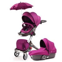 paraguas portátil de coche al por mayor-Actualización de alta vista cochecito de bebé portátil puede LieTwo-way Absorber en las cuatro ruedas Carro de bebé Paraguas plegable Carro de coche