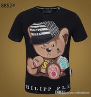 men s t shirts skull al por mayor-Philipp Plein nuevas marcas Hip Hop verano camiseta de manga corta 100% algodón camisa poloshirt hombres Skull hip qp diseñadores para hombre camisetas 1688