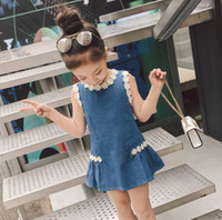 Wholesale chinese style clothes denim for sale - Group buy 2019 new fashion baby girls dress sunflower wash blue denim children boutiques clothes kids cowboy clothing