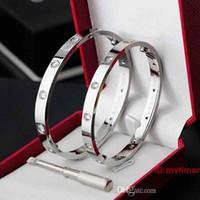 pulseira de ouro venda por atacado-2019 New Silver Rose Gold Aço Inoxidável Parafuso Homens chave de fenda de Diamante de Luxo Designer de Jóias Mulheres Mens Pulseiras Bangle Box Original