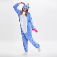 ingrosso pigiama unicorno blu-Donne Unicorno Fleece Pigiama blu Navy maniche lunghe con cappuccio Adulti Home Wear Costumi mascotte Sleep Wear Night Party Wear Caldo