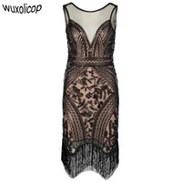 ingrosso costumi art deco-Retrò anni '20 Gatsby Charleston Dress Scollo a V senza maniche con paillettes Frangia Art Deco Donna Flapper Dress Ganster Costumi del partito