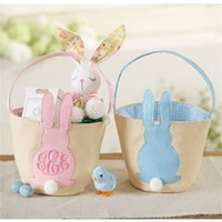 ingrosso piedistalli in plastica-Cesti nuovo coniglio di Pasqua carrello personalizzato Easter Bunny Borse di Tela Egg caramelle Monogram Canvas Benne fai da te Carino Easter Party Decoration 08