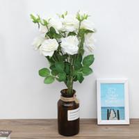 Wholesale decoratives resale online - 5Pcs Heads Artificial Rose Fake Flowers For Wedding Bridal Home Decor White Fake Flower Decoratives Floral Bouquets