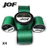linha de cor china venda por atacado-JOF BRAID 4 300M 500M 1000M cor 4 trançado linha verde original da pesca linha de pesca monofilamento 10-60lb made in China