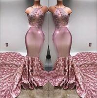 cortos vestidos semi formales negros al por mayor-2018 sirena cabestro baile vestidos largos de satén 3D con cuentas apliques de encaje rosa Falda formal del partido vestidos de noche BA7797